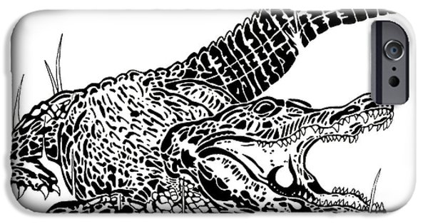 Basic Drawings iPhone Cases - Gator Feed iPhone Case by Jack Norton