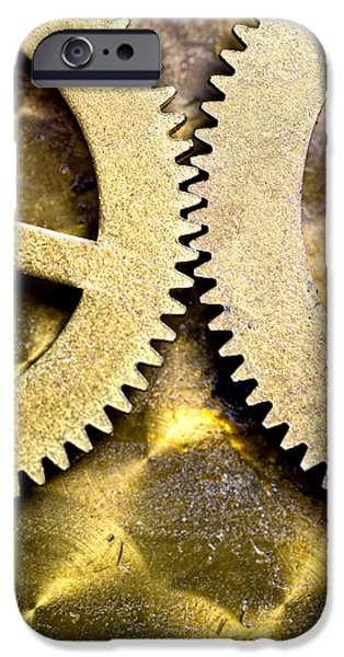 Gears From Inside A Wind-up Clock iPhone Case by John Short