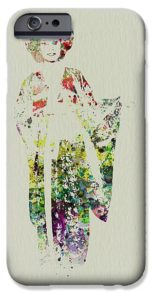 Dancing Girl Paintings iPhone Cases - Geisha iPhone Case by Naxart Studio