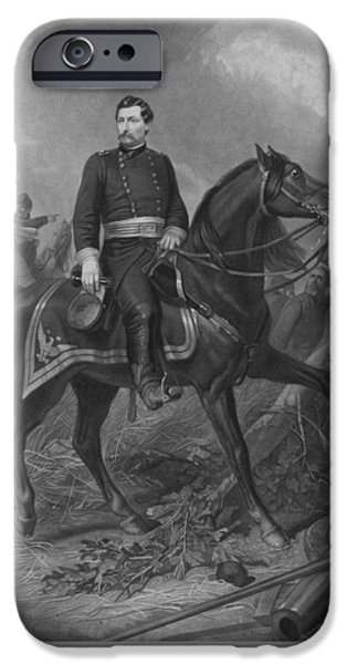 The Horse iPhone Cases - General George McClellan On Horseback iPhone Case by War Is Hell Store