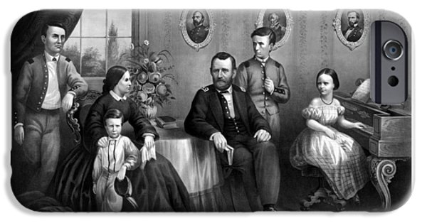 President iPhone Cases - General Grant And His Family iPhone Case by War Is Hell Store