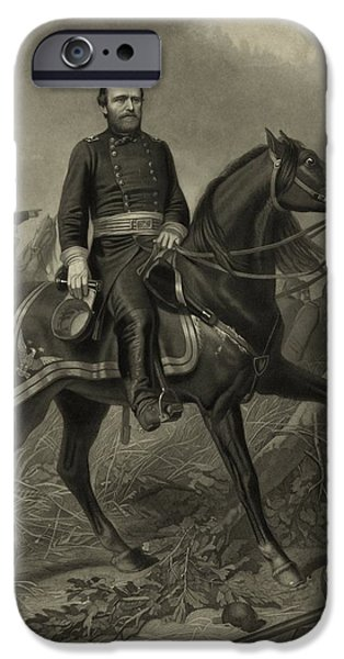 Warrior iPhone Cases - General Grant On Horseback  iPhone Case by War Is Hell Store