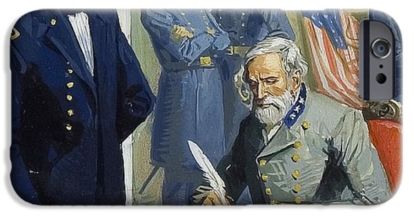 The North iPhone Cases - General Ulysses Grant accepting the surrender of General Lee at Appomattox  iPhone Case by Severino Baraldi