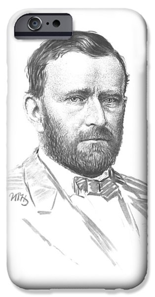 President Drawings iPhone Cases - General Ulysses Grant iPhone Case by War Is Hell Store