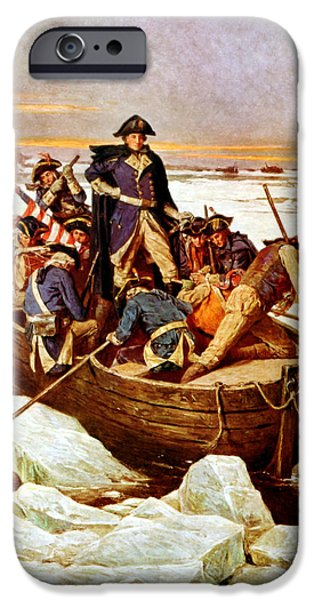 Warishellstore Paintings iPhone Cases - General Washington Crossing The Delaware River iPhone Case by War Is Hell Store