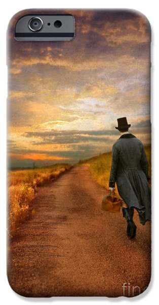 Young Photographs iPhone Cases - Gentleman Walking on Rural Road iPhone Case by Jill Battaglia