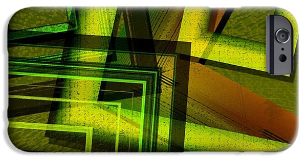 Green Surreal Geometry iPhone Cases - Geometric Design in Green Tones iPhone Case by Mario  Perez