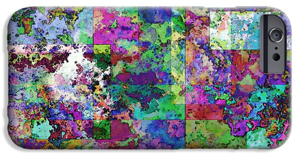 Abstract Digital Drawings iPhone Cases - Geometrix  iPhone Case by Debbie Portwood