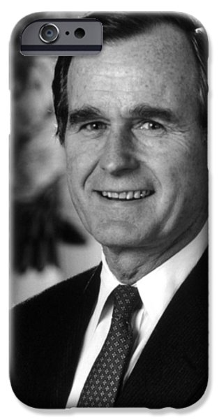 George Bush iPhone Cases - George Bush Sr iPhone Case by War Is Hell Store