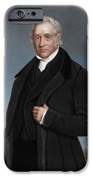 Skewed iPhone Cases - George Stephenson, British Engineer iPhone Case by Maria Platt-evans