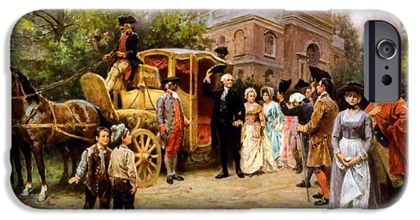 Us Presidents iPhone Cases - George Washington arriving at Christ Church iPhone Case by War Is Hell Store