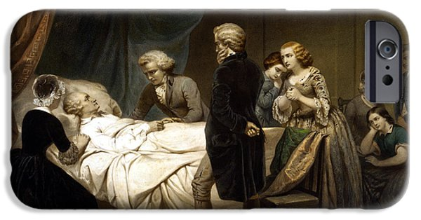 Washington Mixed Media iPhone Cases - George Washington On His Deathbed iPhone Case by War Is Hell Store