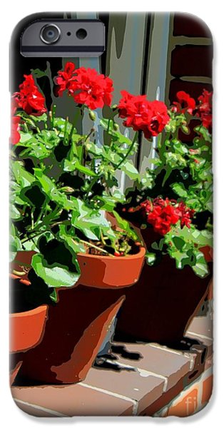 Red Geraniums iPhone Cases - Geraniums in Germany iPhone Case by Carol Groenen