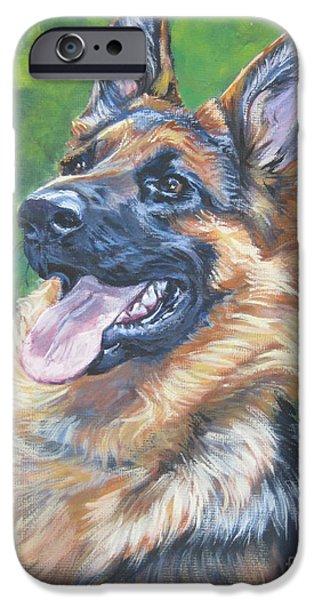 German Shepard iPhone Cases - German Shepherd Head Study iPhone Case by Lee Ann Shepard