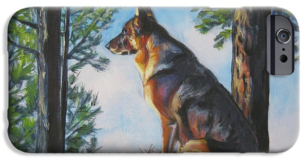 Pine Paintings iPhone Cases - German Shepherd Lookout iPhone Case by Lee Ann Shepard