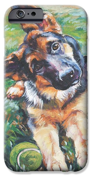 Dog iPhone Cases - German shepherd pup with ball iPhone Case by L A Shepard