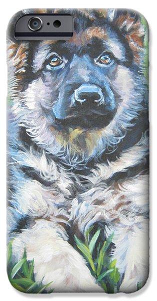 German Shepard iPhone Cases - German Shepherd Puppy iPhone Case by Lee Ann Shepard