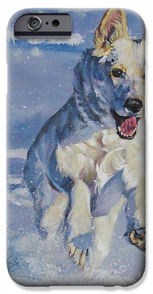 German Shepherd iPhone Cases - German Shepherd white in snow iPhone Case by Lee Ann Shepard