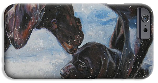 German Shepard iPhone Cases - German Shorthaired Pointer and puppy iPhone Case by Lee Ann Shepard