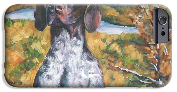 Puppies iPhone Cases - German Shorthaired Pointer Autumn iPhone Case by Lee Ann Shepard