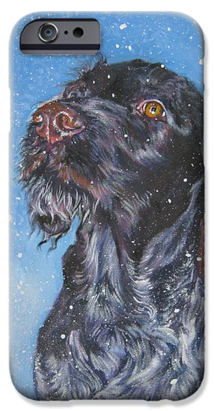 German Shepard iPhone Cases - German Wirehaired Pointer iPhone Case by Lee Ann Shepard