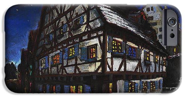 Pastel Pastels iPhone Cases - Germany Ulm Fischer Viertel Schwor-Haus iPhone Case by Yuriy  Shevchuk
