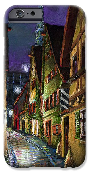 Moon Pastels iPhone Cases - Germany Ulm Old Street Night Moon iPhone Case by Yuriy  Shevchuk