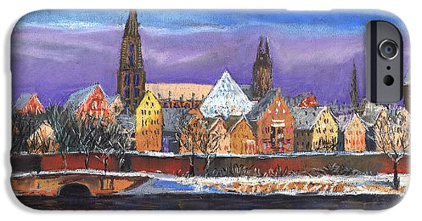 Pastel Pastels iPhone Cases - Germany Ulm Panorama Winter iPhone Case by Yuriy  Shevchuk