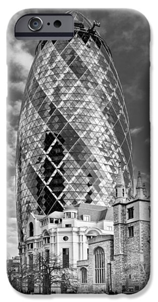 Gherkin and St Andrew's black and white iPhone Case by Gary Eason