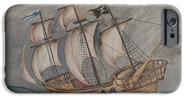 Pirate Ships Drawings iPhone Cases - Ghost Pirate Ship iPhone Case by Jaime Haney