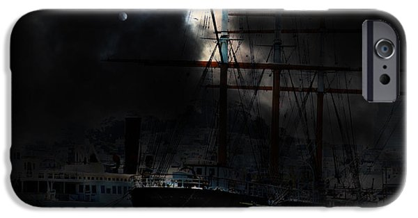 Pirate Ship iPhone Cases - Ghost Ship of The San Francisco Bay . 7D14032 iPhone Case by Wingsdomain Art and Photography