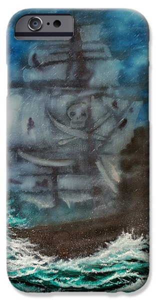 Pirate Ship Mixed Media iPhone Cases - Ghost Ship Of The Sea iPhone Case by Shawna Burkhart