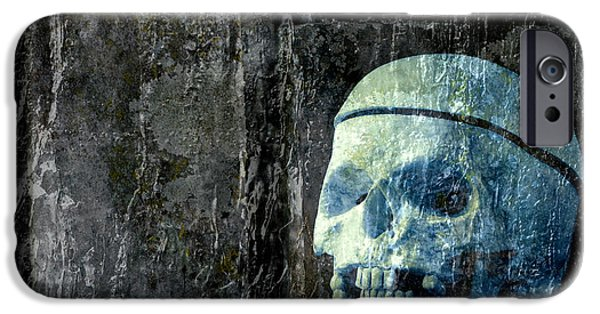 Ghoul iPhone Cases - Ghost Skull iPhone Case by Edward Fielding