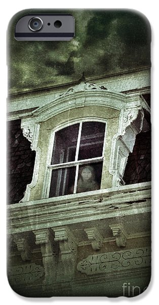Haunted House iPhone Cases - Ghostly Girl in Upstairs Window iPhone Case by Jill Battaglia