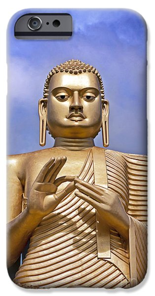 Buddhist iPhone Cases - Giant gold Bhudda iPhone Case by Jane Rix
