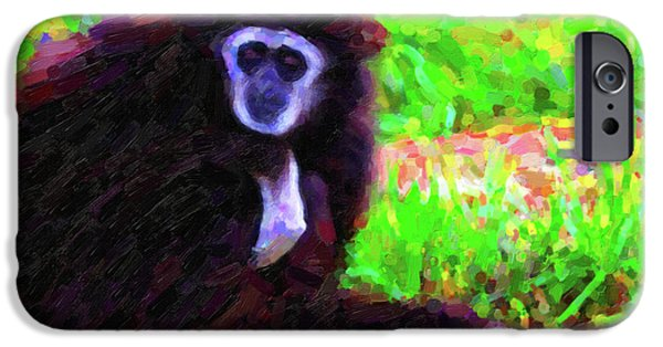 Ape Digital Art iPhone Cases - Gibbon iPhone Case by Wingsdomain Art and Photography