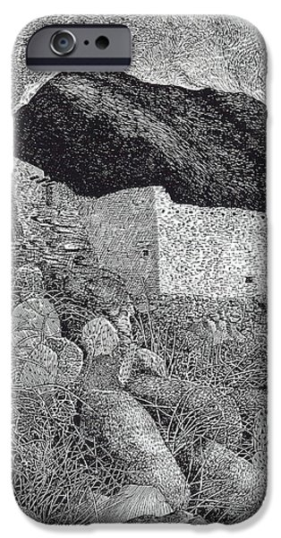 Pen And Ink Framed Prints iPhone Cases - Gila Cliff Dwelings BIG ROOM iPhone Case by Jack Pumphrey