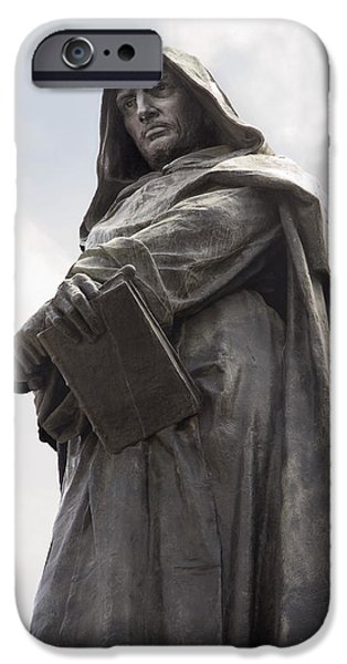 Statue Portrait iPhone Cases - Giordano Bruno, Italian Philosopher iPhone Case by Sheila Terry
