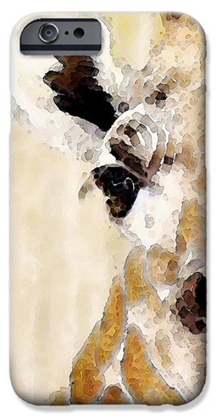 Zoo Animal iPhone Cases - Giraffe Art - Side View iPhone Case by Sharon Cummings