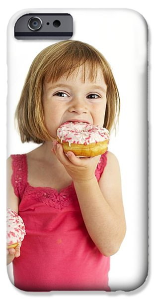 Doughnuts iPhone Cases - Girl Eating Doughnuts iPhone Case by Ian Boddy