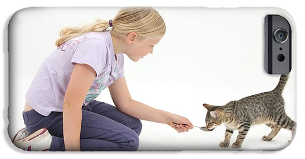Fed iPhone Cases - Girl Feeding Kitten From A Spoon iPhone Case by Mark Taylor