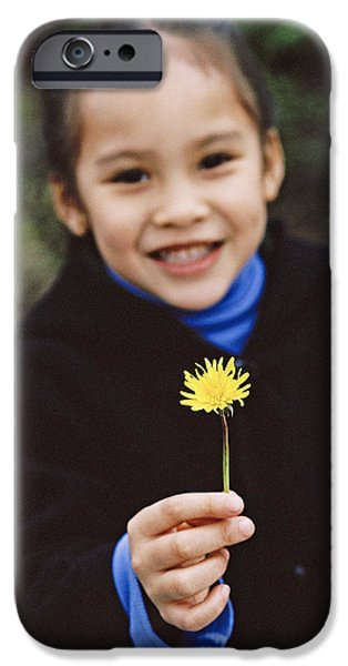 Girl Holding A Flower iPhone Case by Ian Boddy