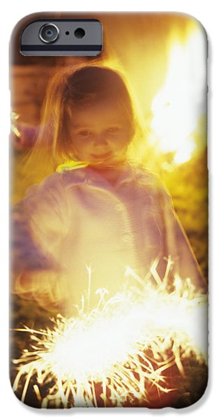Fireworks iPhone Cases - Girl Holding Sparkler iPhone Case by Ian Boddy