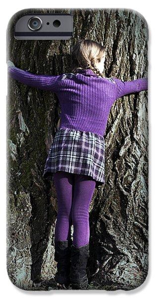 girl hugging tree trunk iPhone Case by Joana Kruse