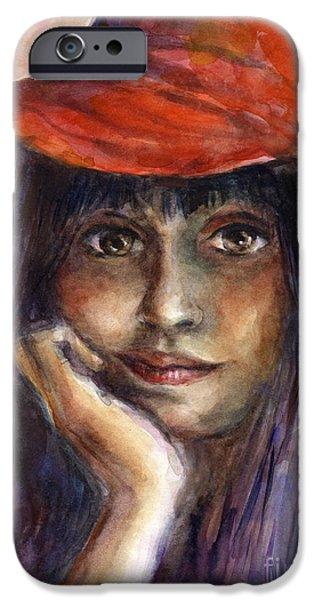 Watercolor Drawings iPhone Cases - Girl in a red hat portrait iPhone Case by Svetlana Novikova