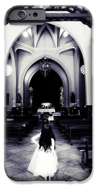 Girl in the Church iPhone Case by Jenny Rainbow