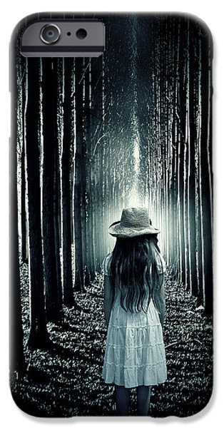 Eerie iPhone Cases - Girl In The Forest iPhone Case by Joana Kruse