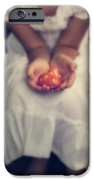 Girl iPhone Cases - Girl Is Holding A Heart iPhone Case by Joana Kruse