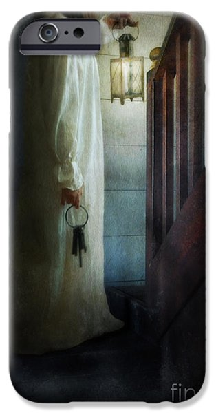 Girl On Stairs with Lantern and Keys iPhone Case by Jill Battaglia