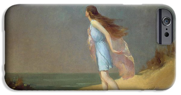 Girl Paintings iPhone Cases - Girl on the beach  iPhone Case by Frank Richards